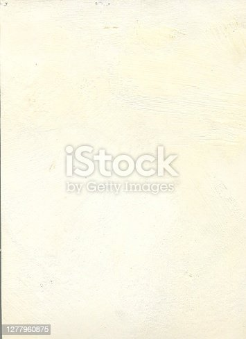 istock A yellowed surface of the old primed painting - texture with visible unevenness and discoloration - grunge vector background - stock illustration with multi layered effect - bad printed background 1277960875