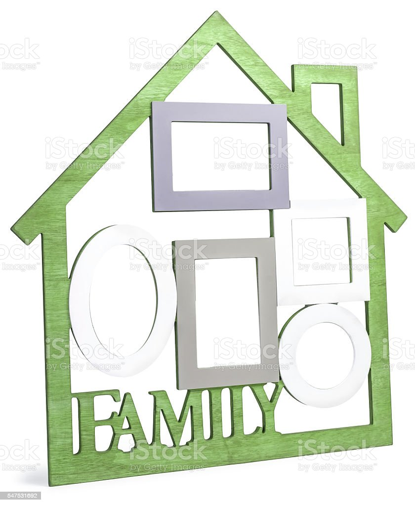 Yellow-green wooden photo frame House with text Family stock photo