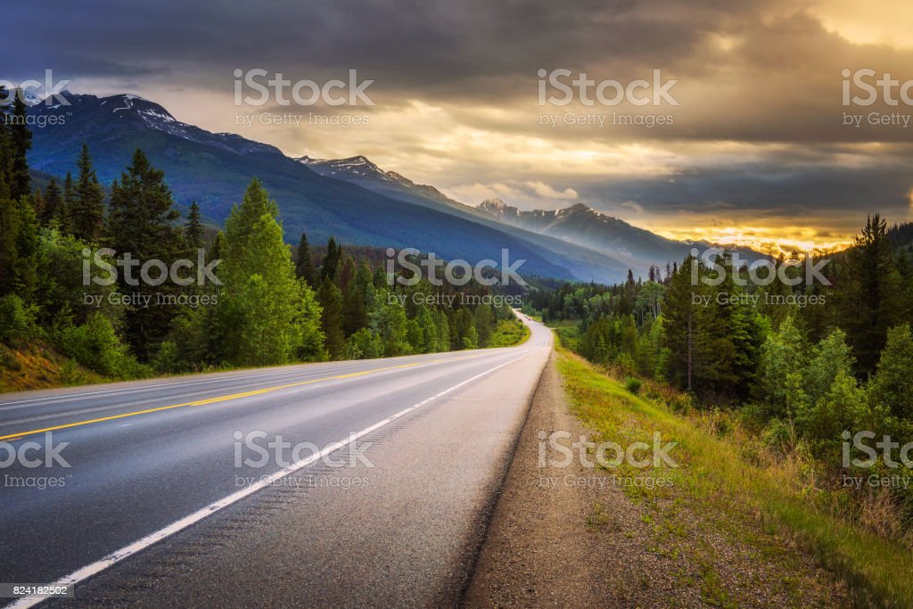 Scenic Icefields Pkwy in Banff National Park at sunset stock photo