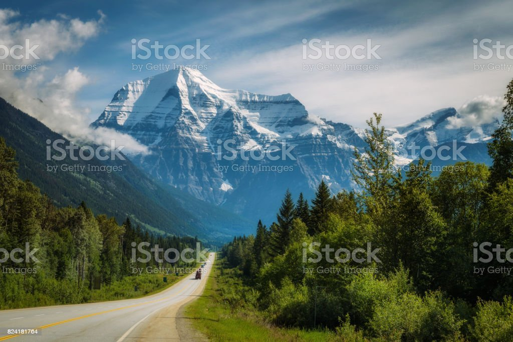 Yellowhead Highway in Mt. Robson Provincial Park, Canada stock photo