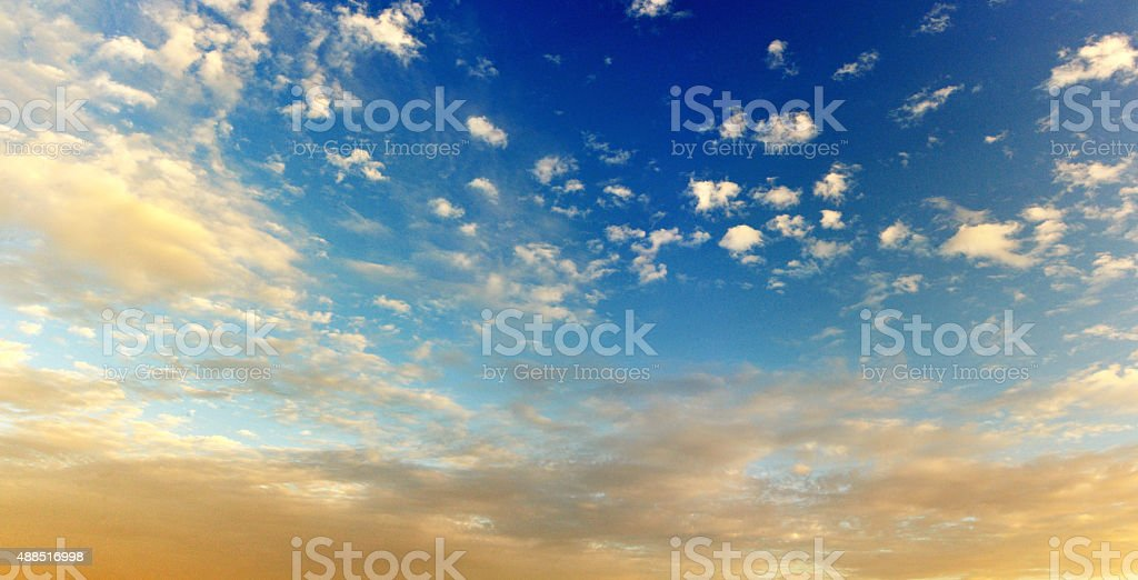 Yellowish clouds stock photo