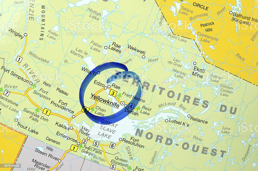 Yellowknife on the Map stock photo
