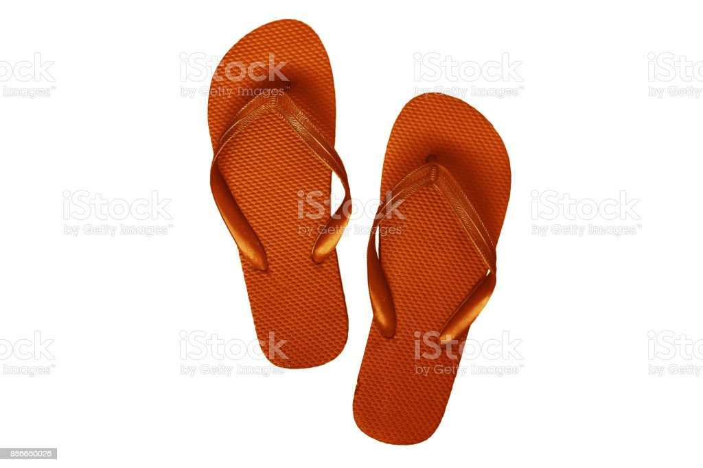 02bca5a00aab Yelloworange Rubber Flip Flops Isolated On A White Background Stock ...