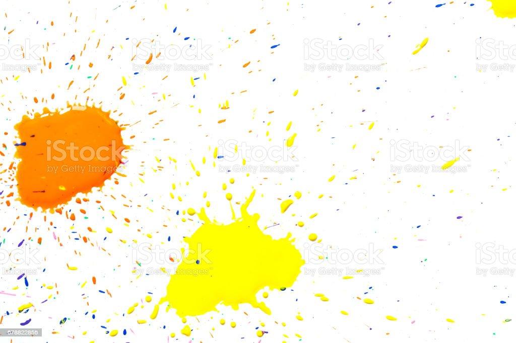 Jaune-orange aquarelle blots isolé sur fond blanc. photo libre de droits