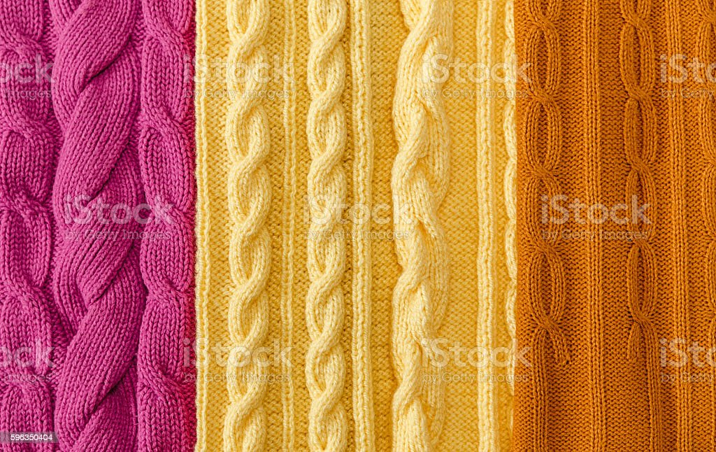 Yellow;Pink Knitted Items,Braids and Pattern.Hand Made royalty-free stock photo