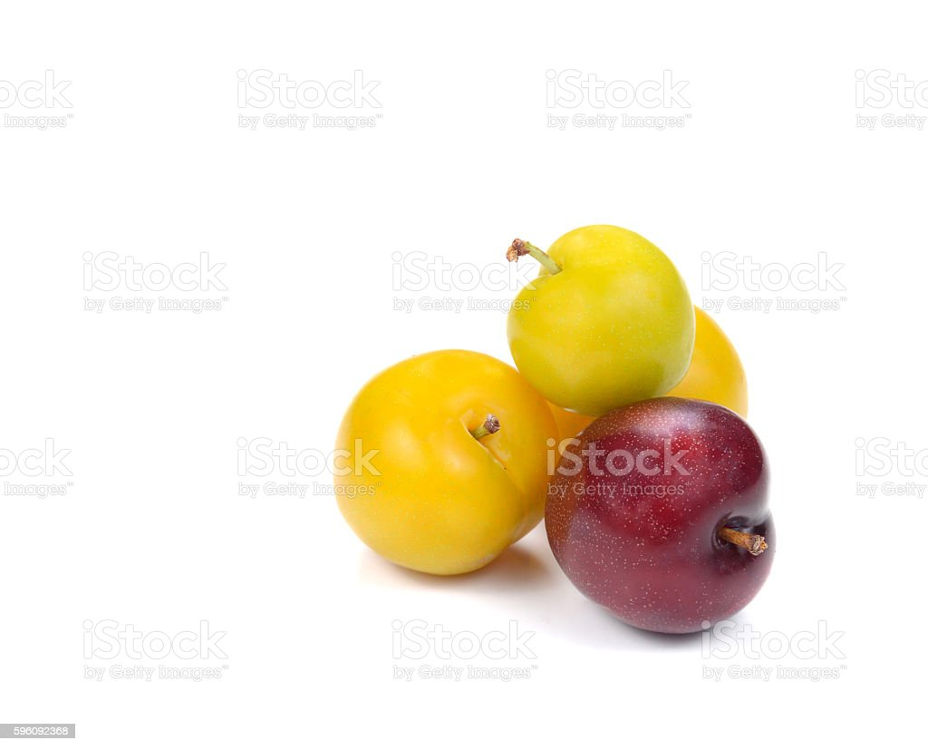 Yellow,Red Ripe plum on white background. royalty-free stock photo