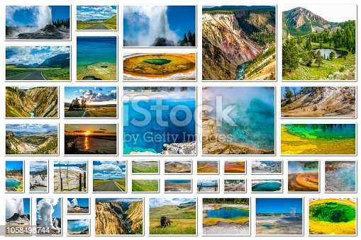 Yellowstone pictures collage of different locations landmark of hot spring with steam, geysers with eruptions and pools of thermophilic bacteria in Yellowstone National Park, Wyoming, United States.