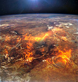 Yellowstone apocalyptic collage in lava. Satellite view. Elements of this image furnished by NASA.