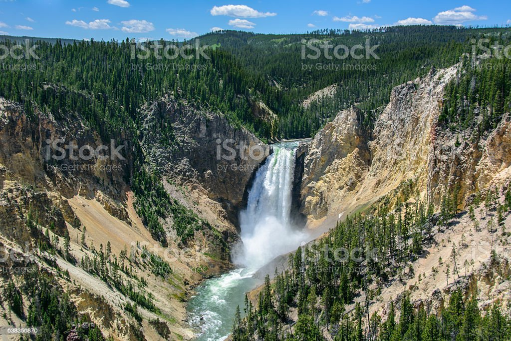 Yellowstone Falls in National Park, Wyoming USA stock photo