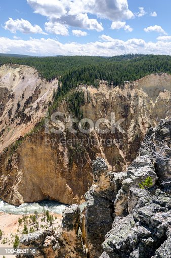 Yellowstone falls in Yellowstone National Park in Wyoming