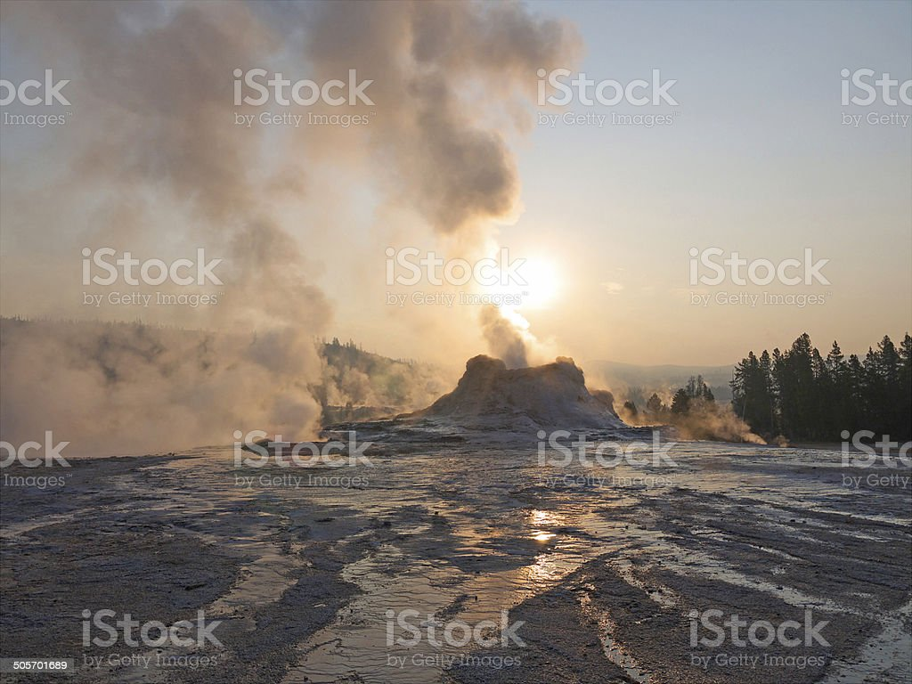 Yellowstone gayser in the morning stock photo