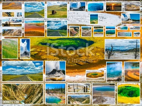 Yellowstone pictures collage of different locations landmark of Yellowstone National Park, Wyoming, United States with Morning Glory Pool in background.