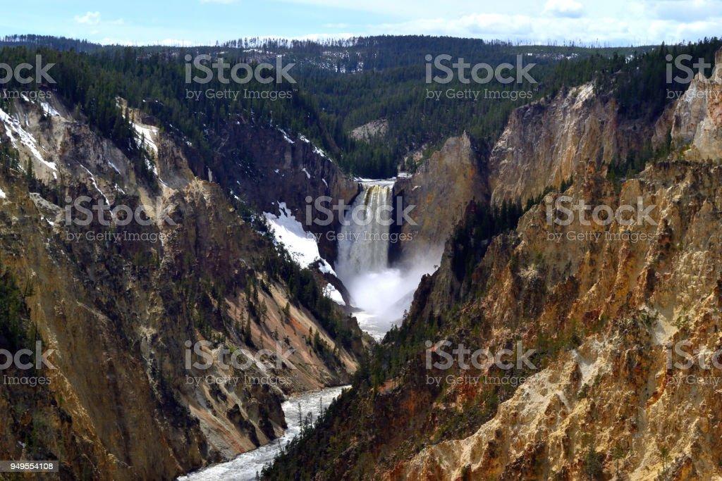 Yellowstone grand canyon falls stock photo