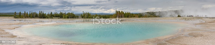 Yellowstone Grand Prismatic Blue Spring Panorama with People