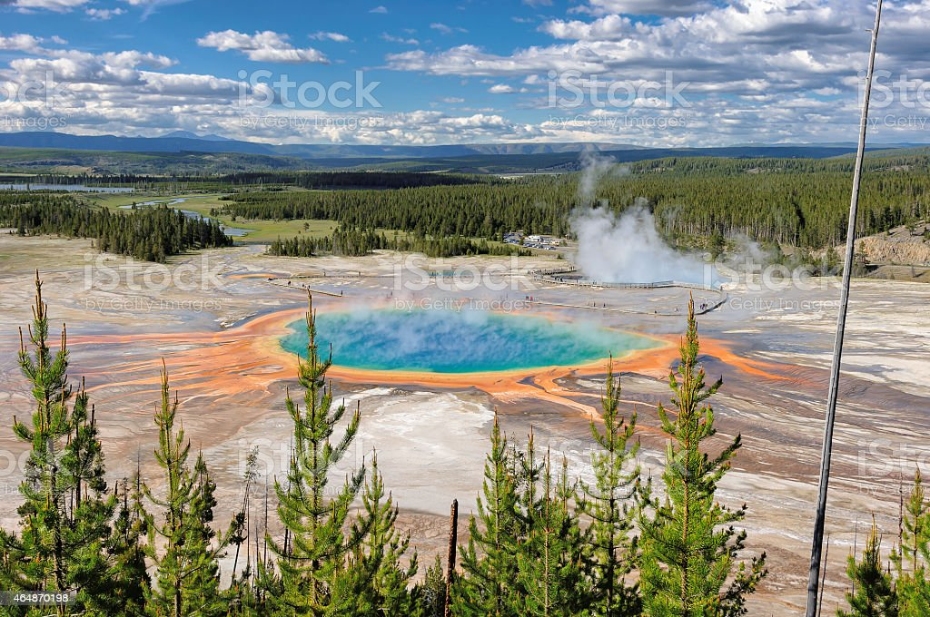 Yellowstone, Grand Prismatic pool in Yellowstone National Park stock photo