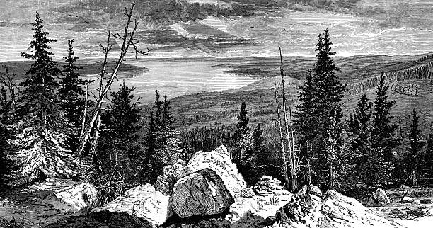 yellowstone lake - etching stock pictures, royalty-free photos & images