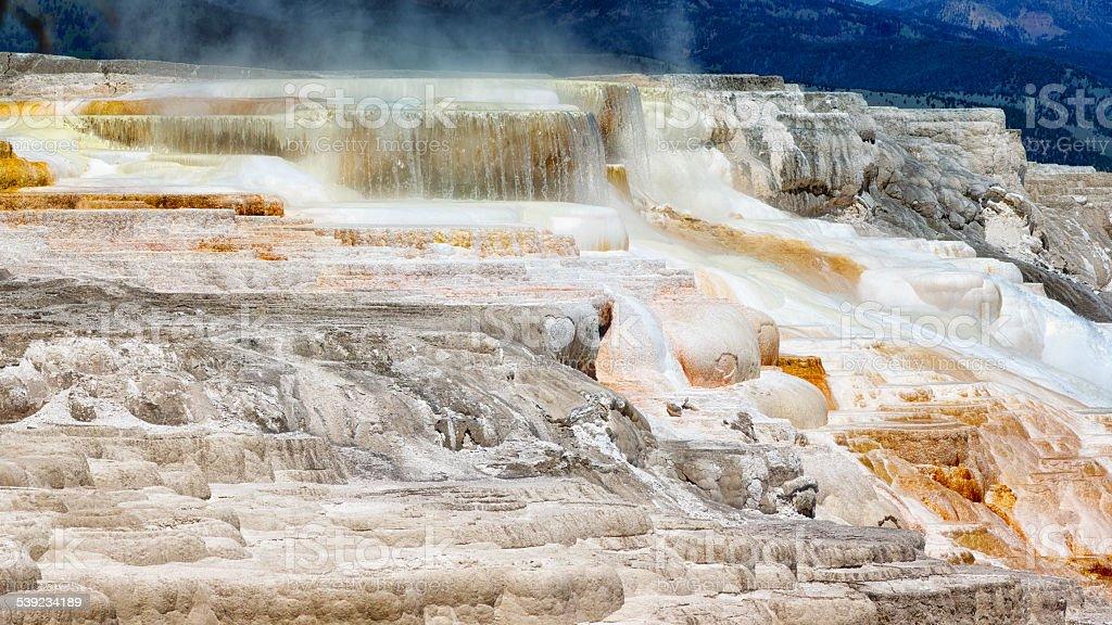 Yellowstone Mammoth hot springs terrazas panorama foto de stock libre de derechos