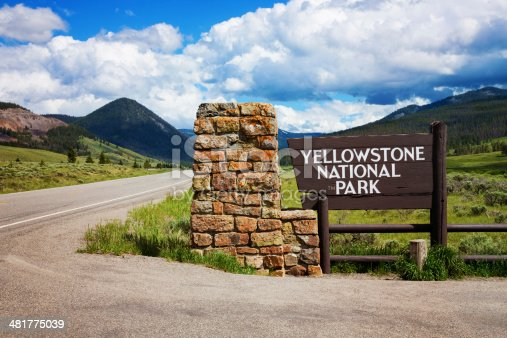 Yellowstone national park sign and entrance.