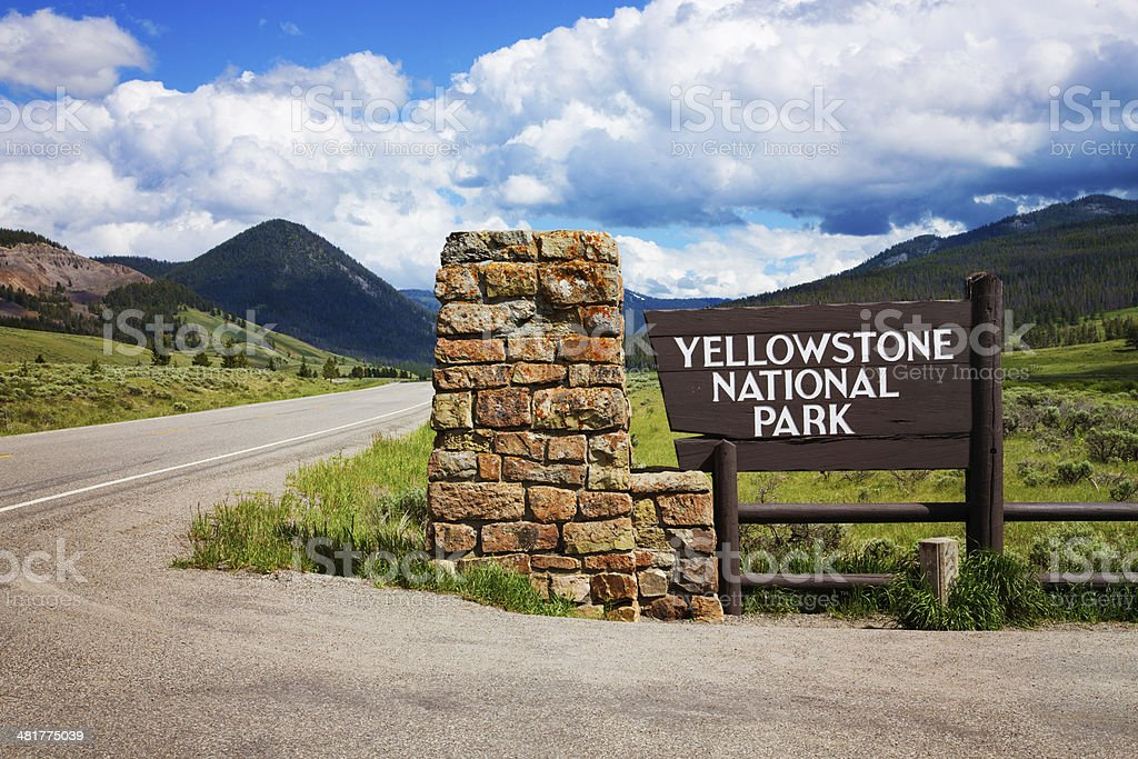 Yellowstone national park entrance stock photo