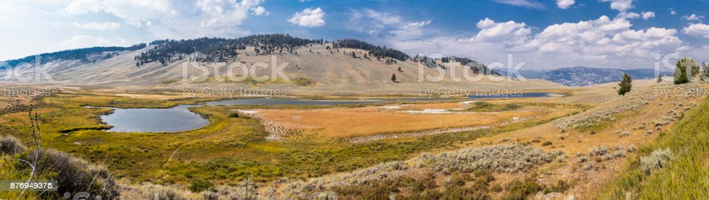 Yellowstone National Park, Park County, Wyoming, United States. Lamar River in the Lamar Valley stock photo