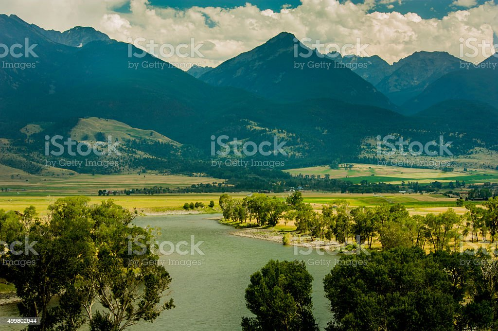Yellowstone River and Absaroka Range, Paradise Valley, Montana stock photo
