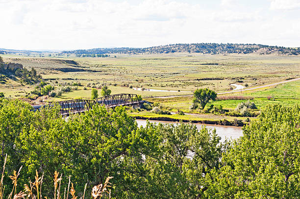 Yellowstone River and Valley stock photo