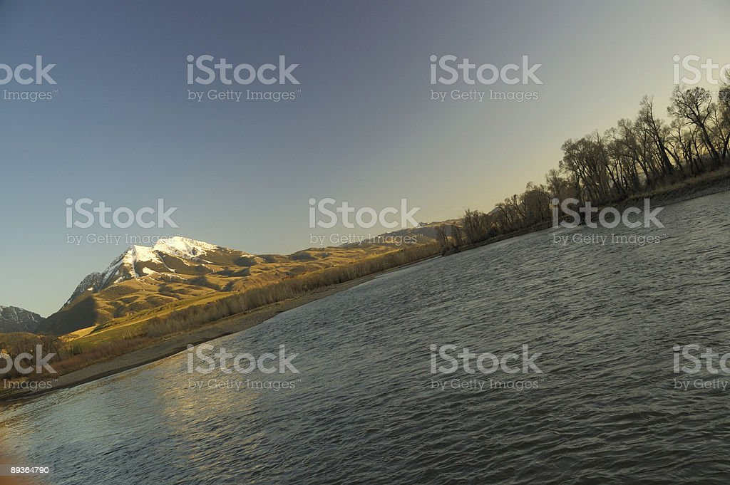 Yellowstone River with mountains in the background royalty-free stock photo
