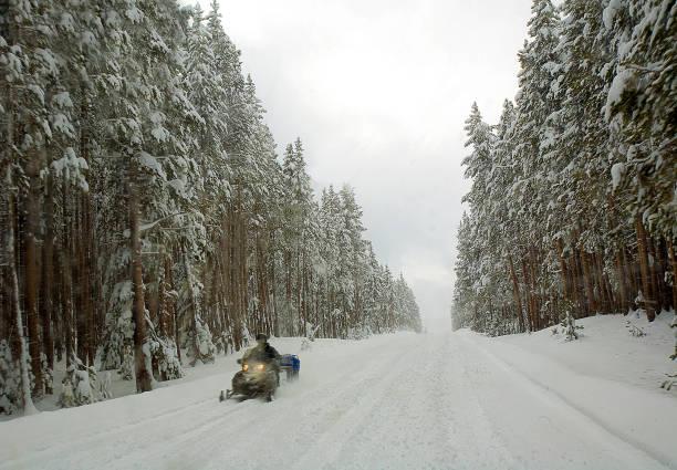 Yellowstone Snowmobile stock photo