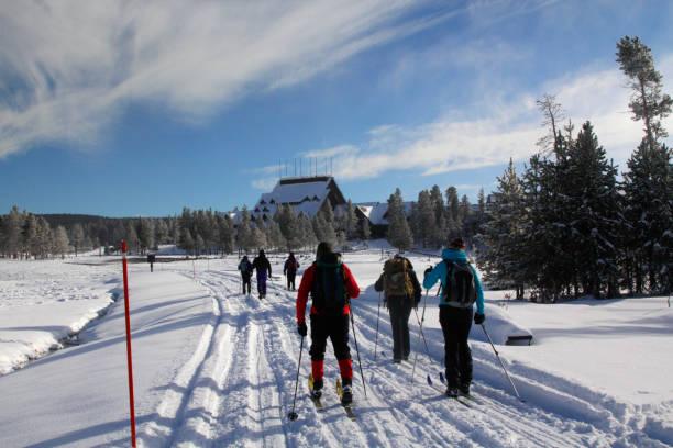Yellowstone Winter Skiing stock photo