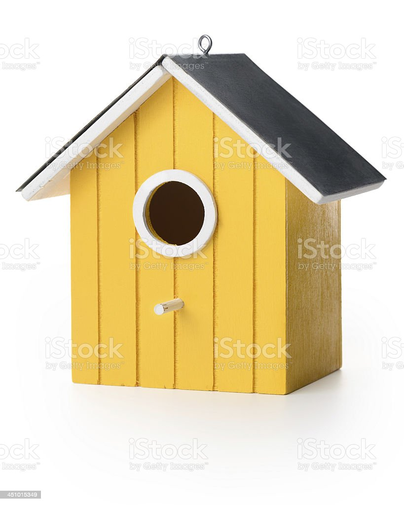 Yelolow bird box stock photo