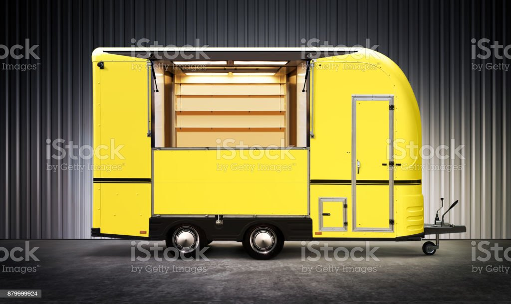 yelow food truck stock photo