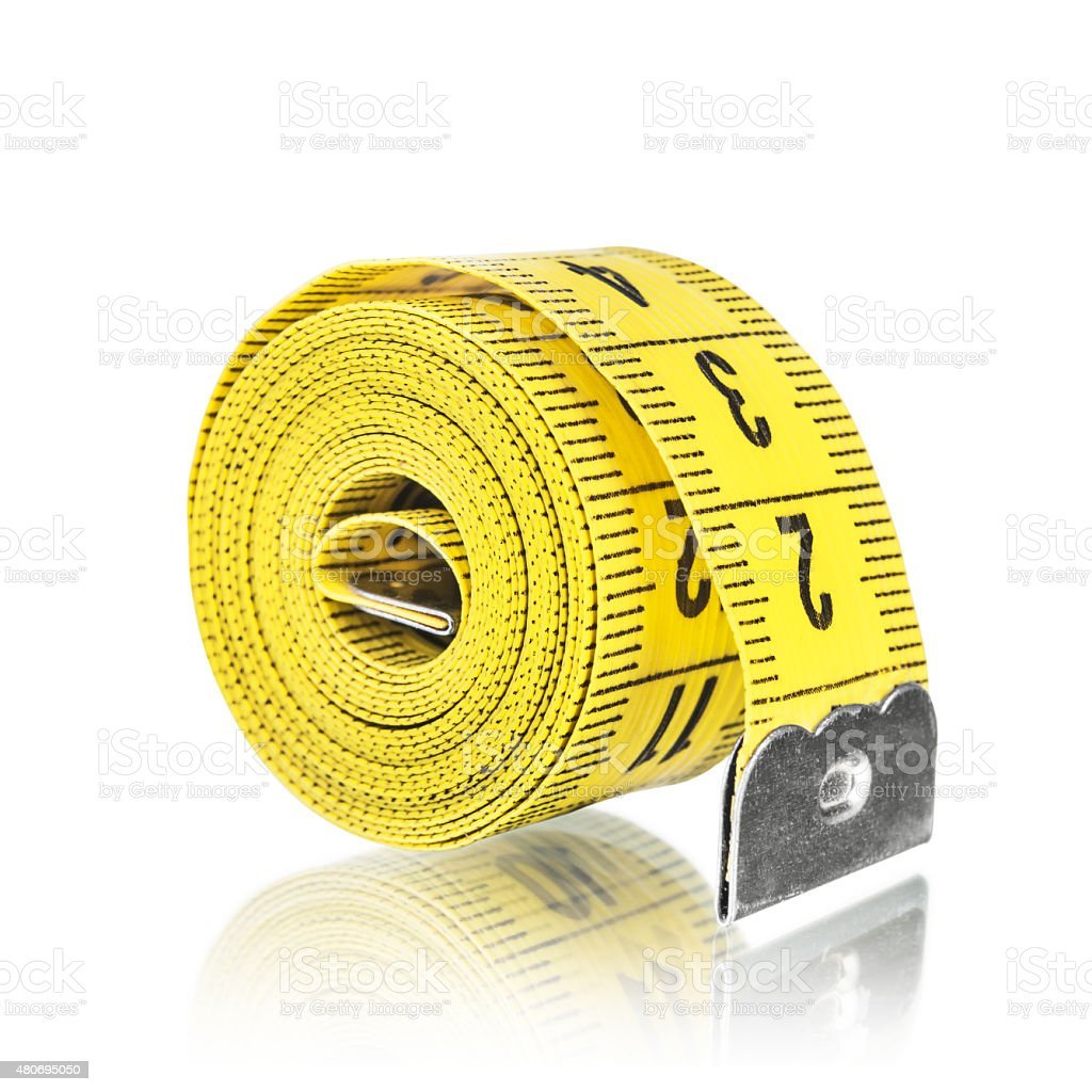Yelow measuring tape, isolated on white stock photo
