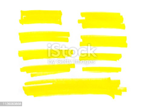 istock yelow stripes, drawn with markers. Stylish highlight elements for design. 1126063858