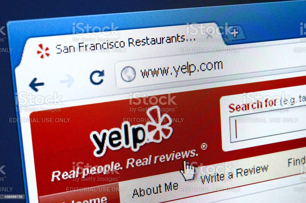 Yelp webpage on the browser stock photo