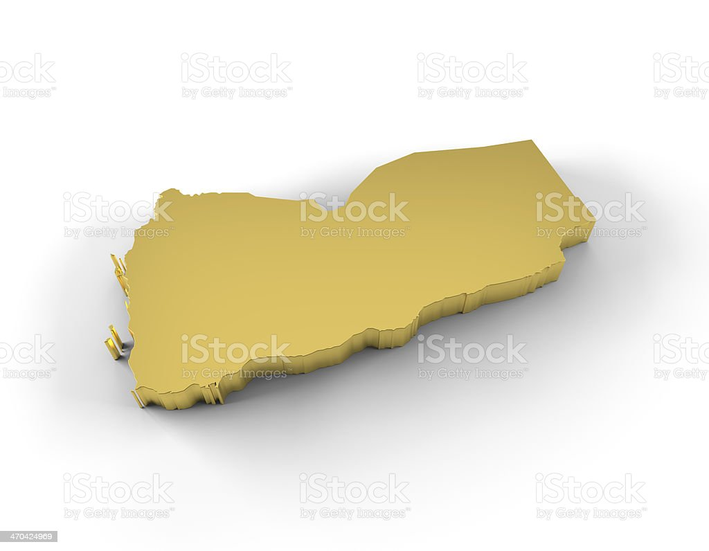 Yemen map 3D gold with clipping path royalty-free stock photo
