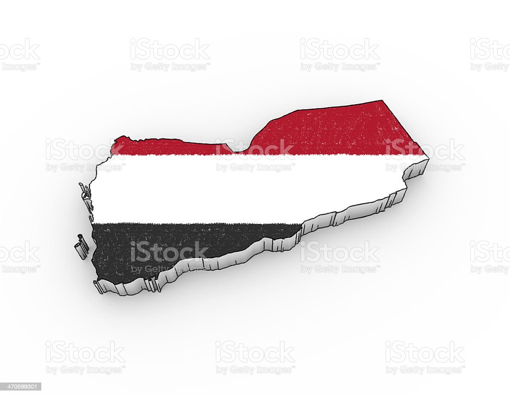 Yemen map 3D; looks like a drawing with flag royalty-free stock photo