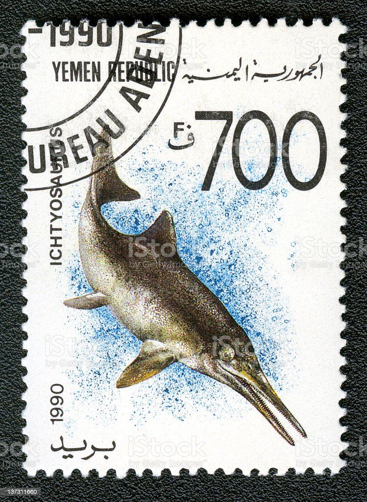 Yemen Republic Circa 1990 stamp shows Ichtyosaurus series prehistoric animals stock photo