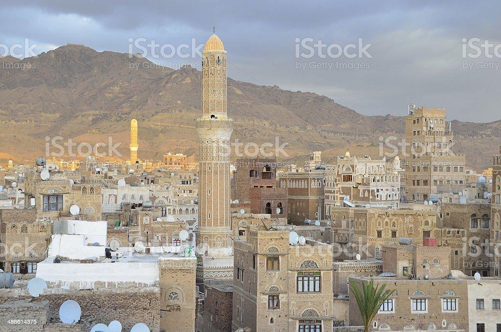 Yemen, Sana'a, old town at sunset stock photo