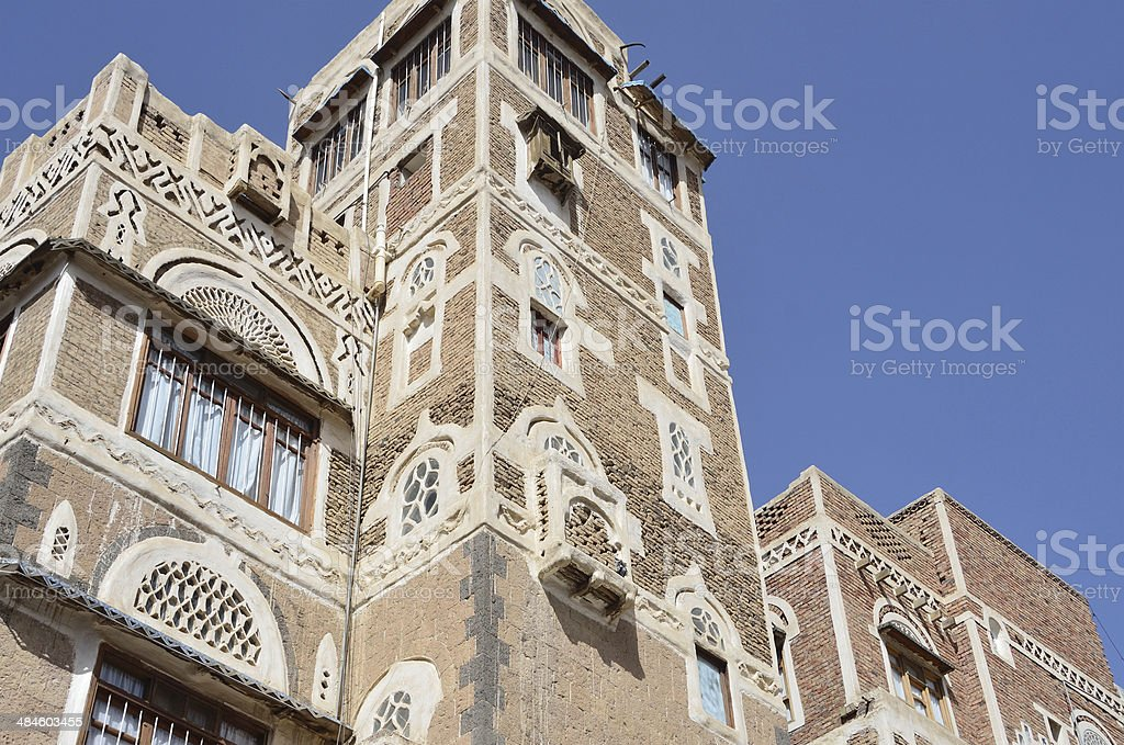 Yemen, Sana'a, the old city, part of dwelling house stock photo