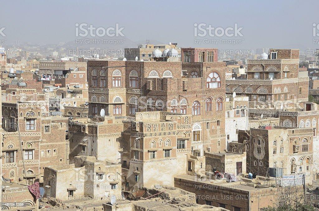 Yemen Scene: Nobody, ancient houses in historic center of Sana'a. stock photo