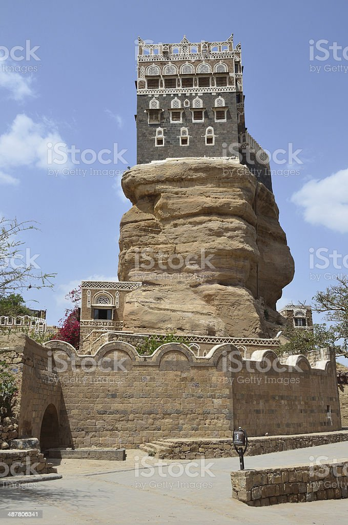 Yemen, the Palace of the Imam in the Wadi Dhar in Sana'a stock photo