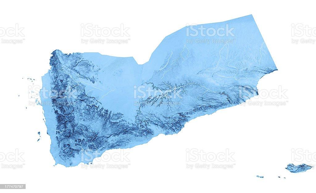 Yemen Topographic Map Isolated royalty-free stock photo