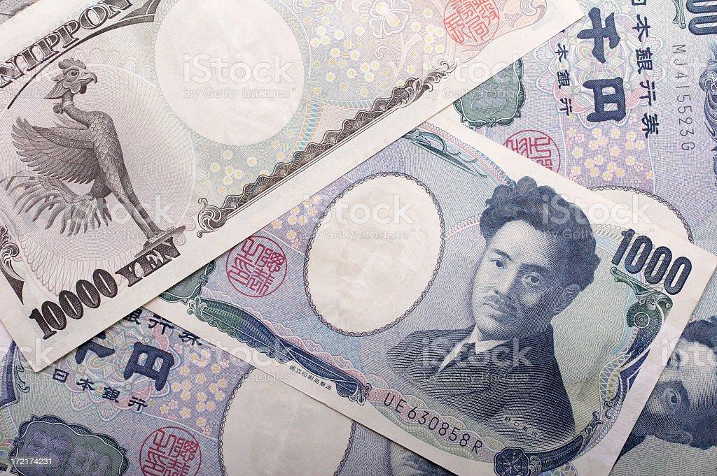 Yen background stock photo