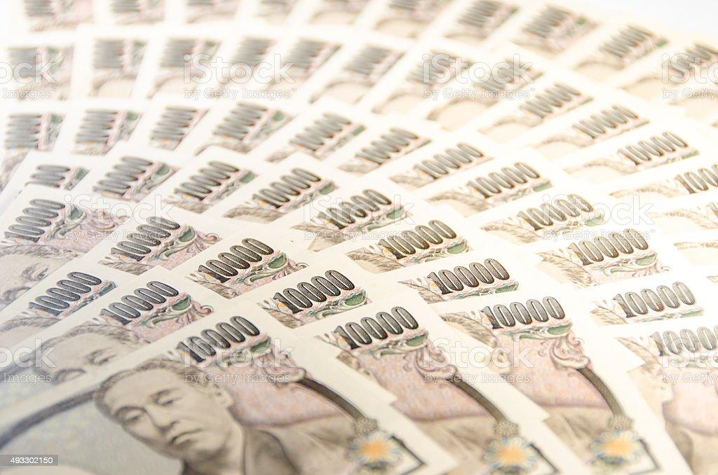 10,000 yen bills -2 stock photo