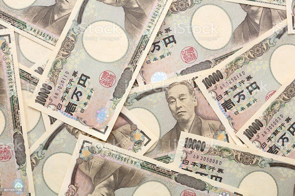10,000 yen bills stock photo