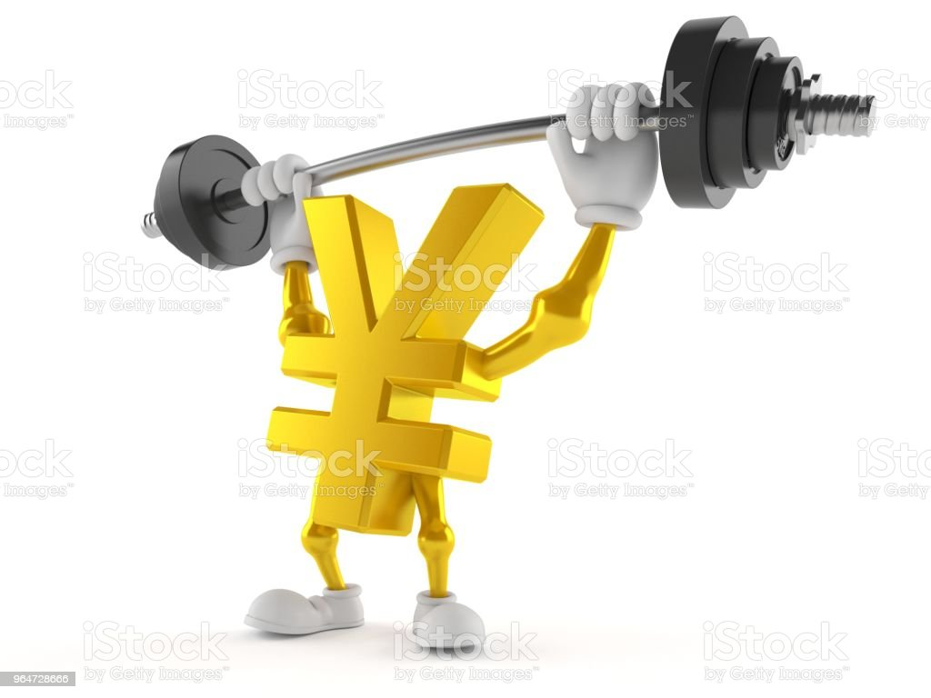 Yen character lifting heavy barbell royalty-free stock photo