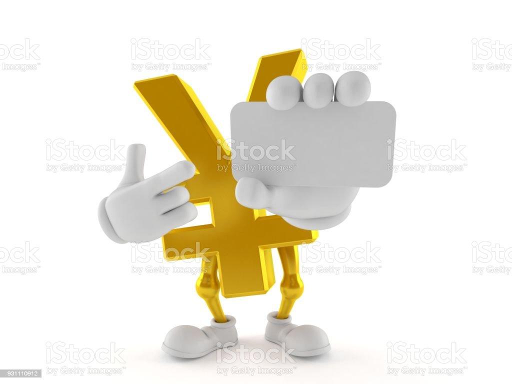 Yen karakter işaret parmağında kartvizit - Royalty-free Altın - Metal Stok görsel