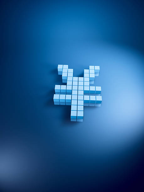 Yen Currency Symbol Blue Cubes Vertical 3D Render of a Yen currency symbol with pixelated blue cubes. Very high resolution available! Use it for Your own composings! blue 3d business NOT map NOT background stock pictures, royalty-free photos & images