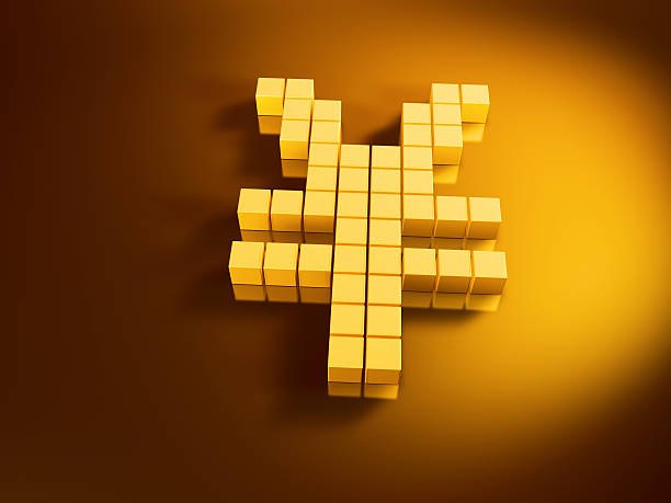 Yen Currency Symbol Golden Cubes 3D Render of a Yen currency symbol with pixelated golden cubes. Very high resolution available! Use it for Your own composings!Related images: golden cube stock pictures, royalty-free photos & images