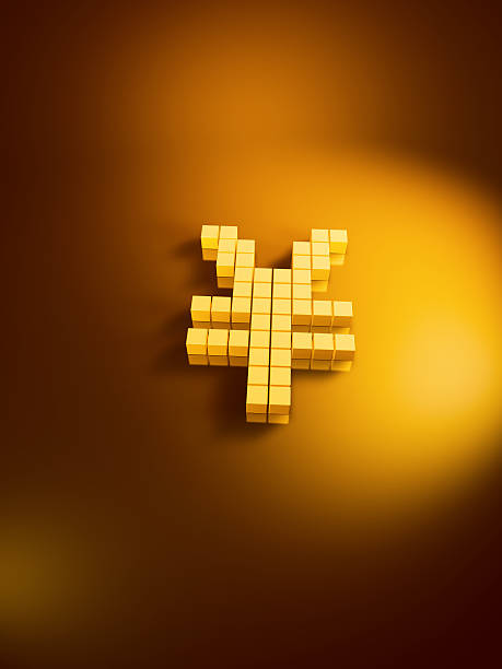 Yen Currency Symbol Golden Cubes Vertical 3D Render of a Yen currency symbol with pixelated golden cubes. Very high resolution available! Use it for Your own composings!Related images: golden cube stock pictures, royalty-free photos & images